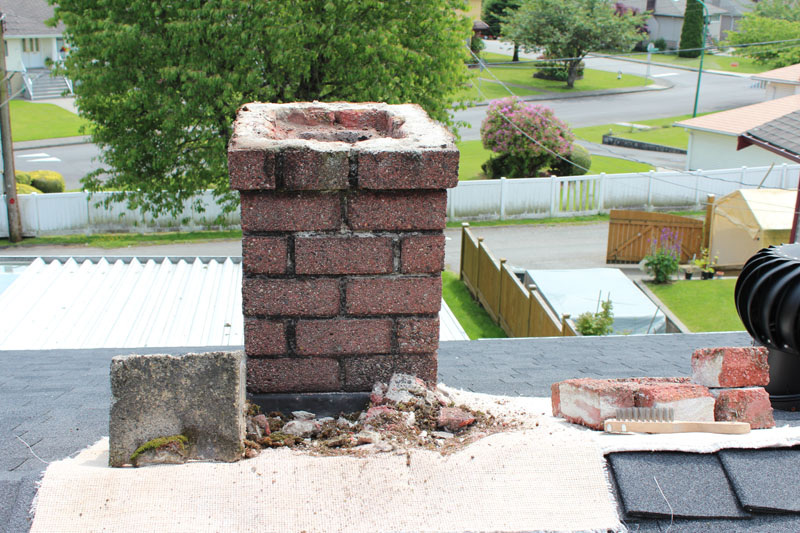 Rebuild Drip Edge and Chimney Pot - Before | Red Brick Chimney Services